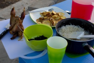 "Yum! South Sudan feast! Fresh roasted chicken, wild kutra and garlic, fried potatoes and rice with strawberry ""juice"""