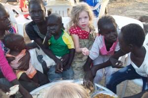 The little girl eating table