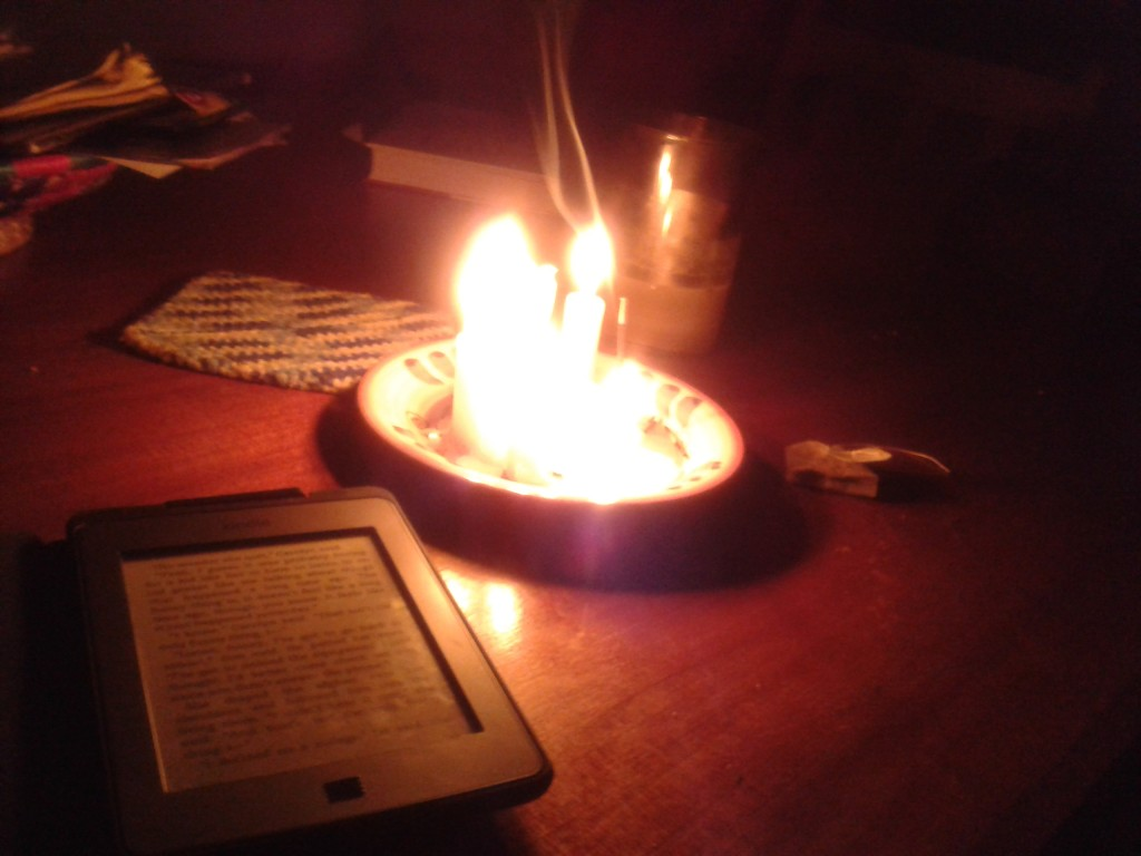 10-no electricity so a quiet evening with tea, candles and a book