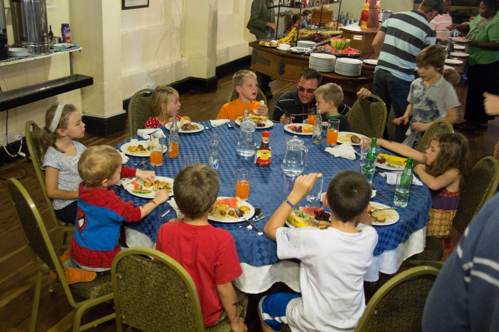 A kids table for each meal. How fun is that!
