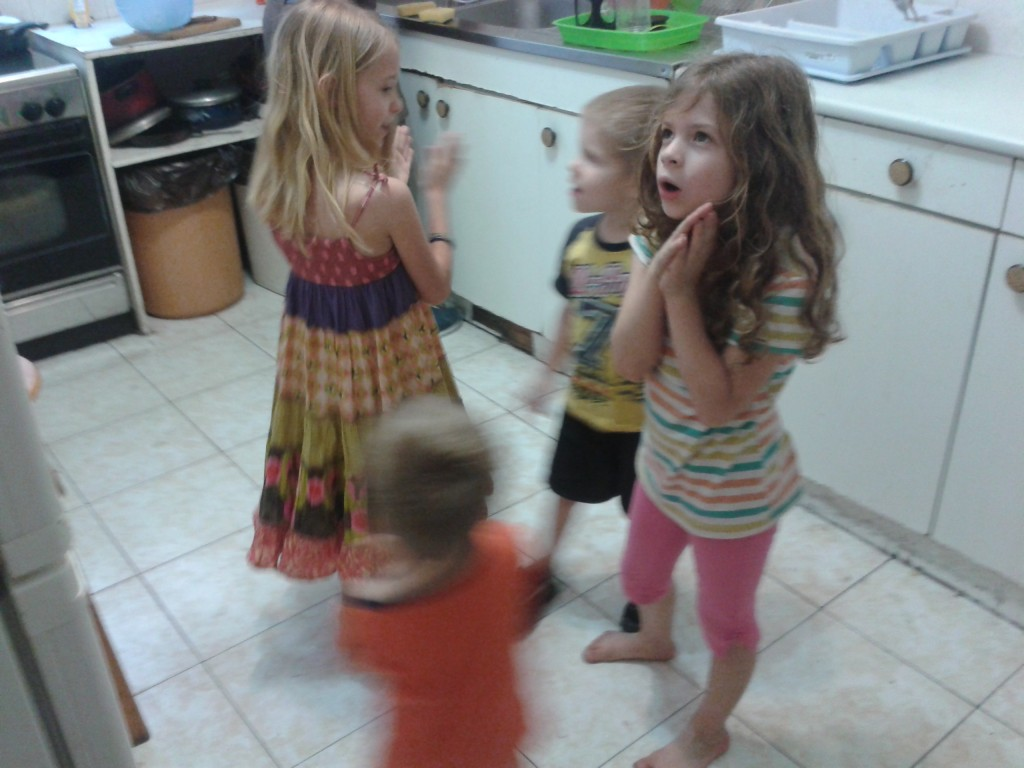5:10-prepping dinner while the kids sing some of their songs from pre-school to entertain me in the kitchen