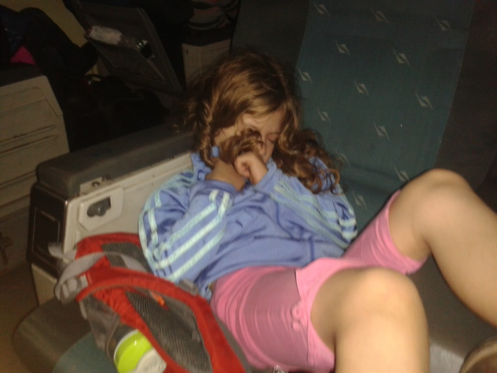 9:20p- sleeping on the train