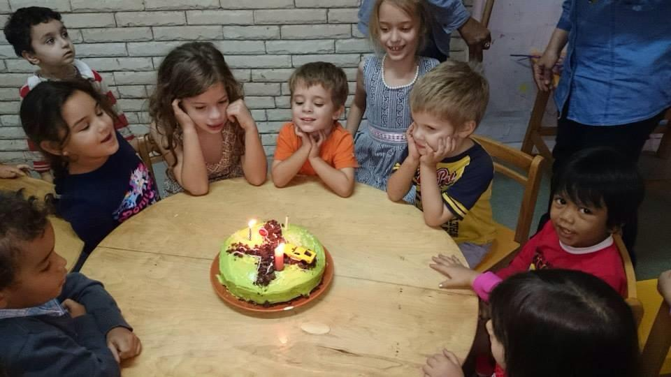 Little man was able to enjoy cake with his schoolmates