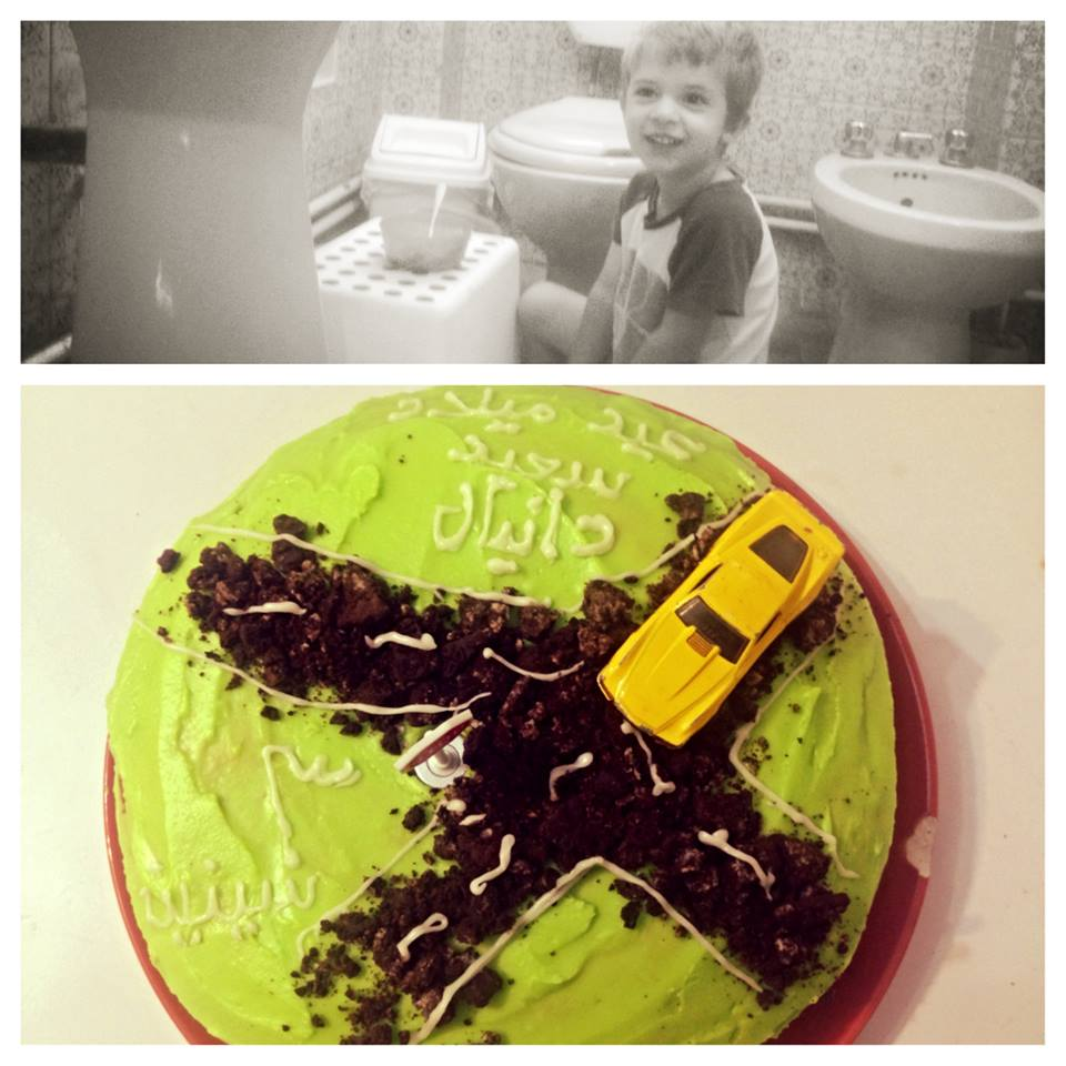 I asked D-man where he wanted to eat breakfast. he announced in the bathroom (not what I was expecting) and I didn't burn the cake!