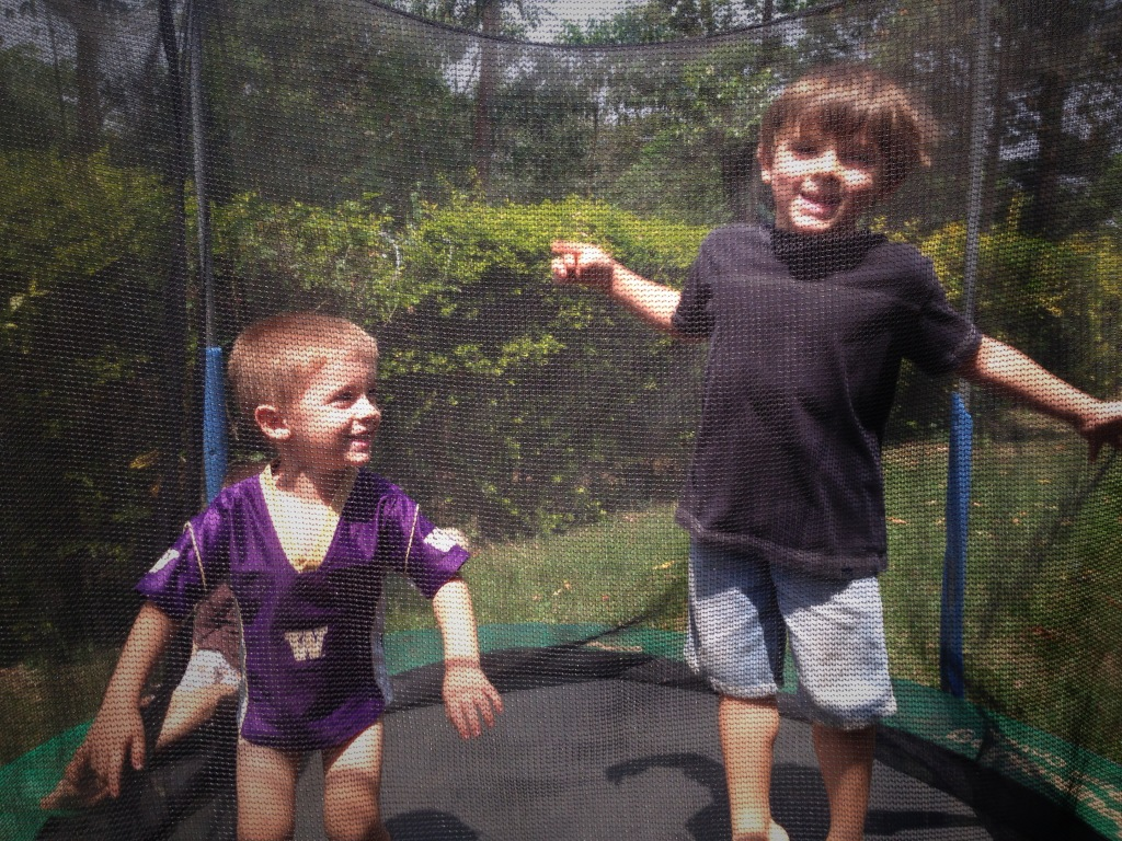 01.12-Jumping outside on the trampoline with friends