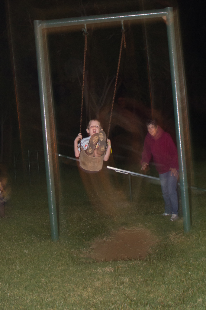 "Late night swing rides by the fabulous ""Auntie Claire"""
