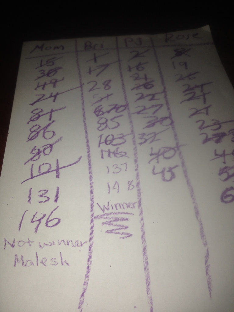 02.11-Playing Dutch Blitz with my girls and Auntie Bri...defeat by only 2 points...next time!
